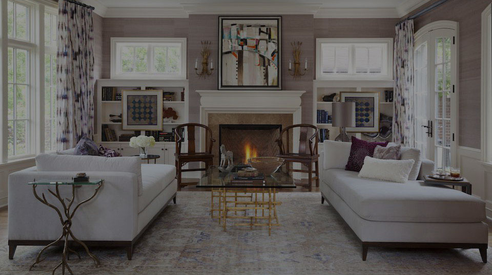 Philadelphia Estate Sales - Gunning and Company | Living Room Setting with Lit Fireplace